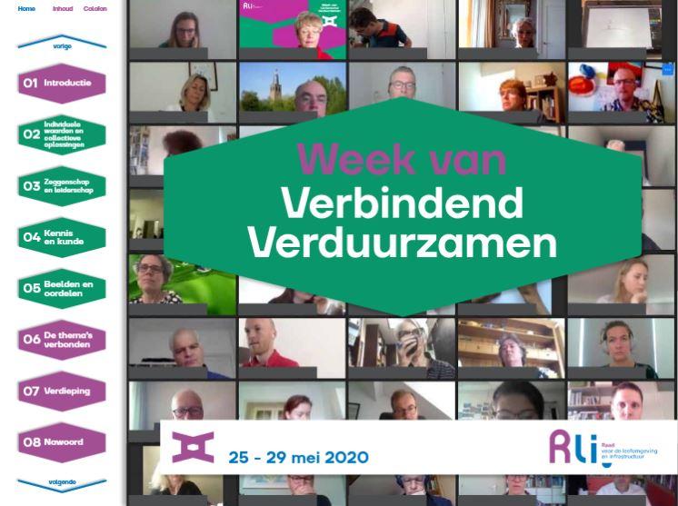 Kaft van het magazine met een screenshot van de deelnemers online en de titel Week van Verbindend Verduurzamen