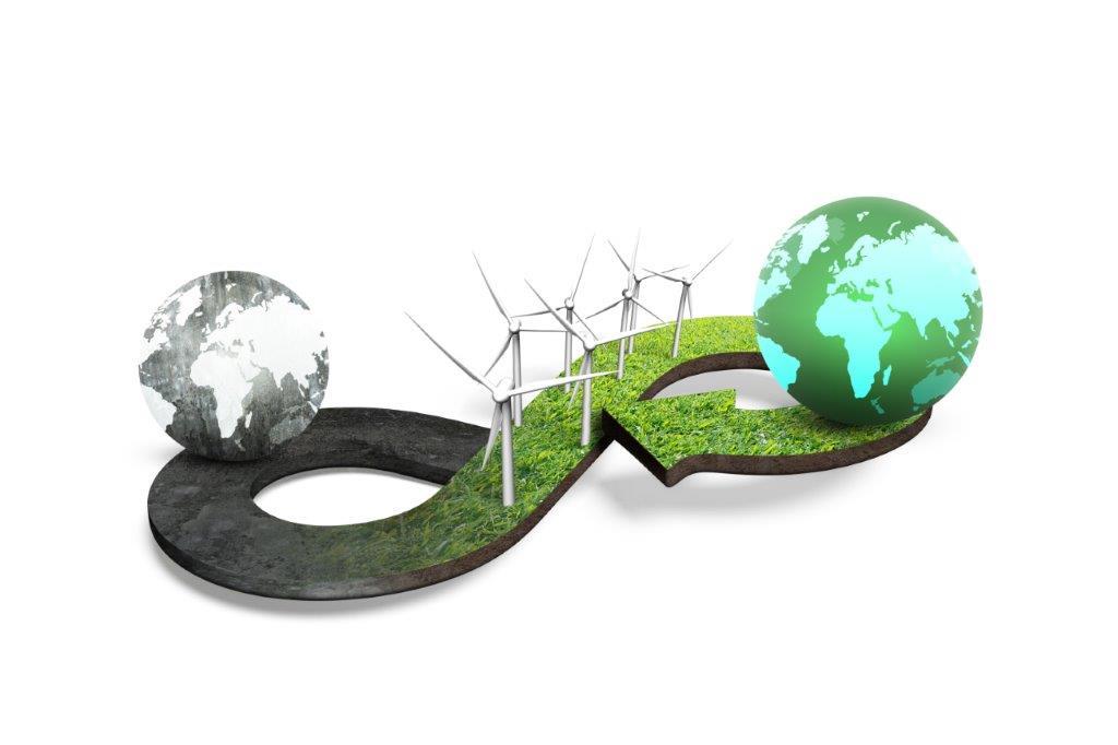 illustratie van een wereldbol op weg van grijs naar groen