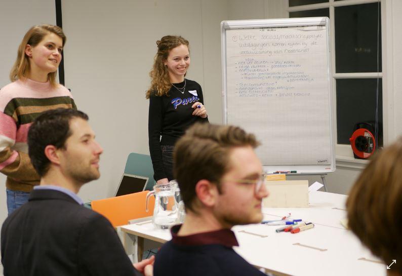 Vier jongeren discusieren met elkaar over de verduurzaming van Nederland