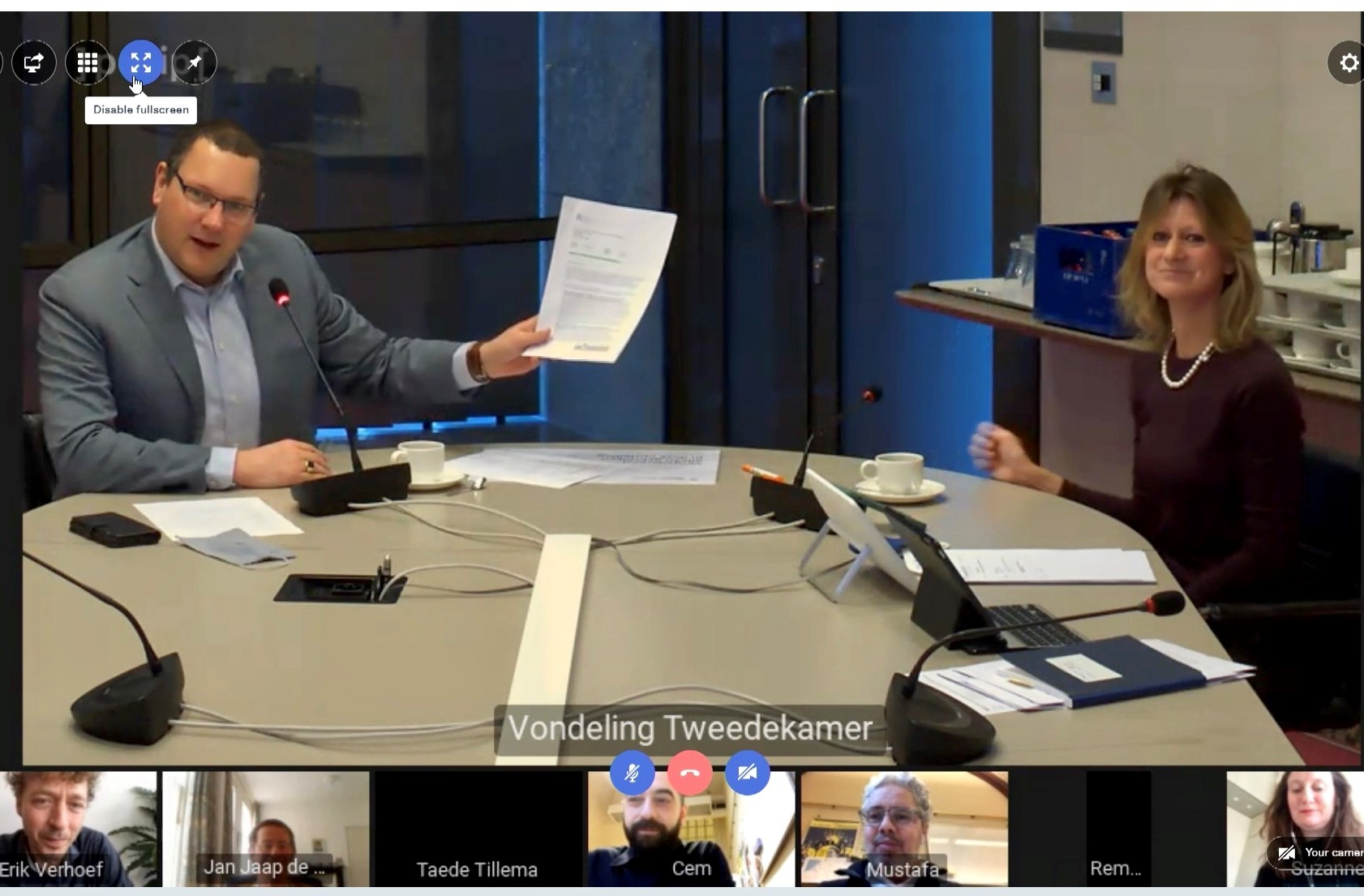 Kamerlid Rutger Schonis (D66) nam het advies op 10 februari 2021 namens de Tweede Kamer op de online bijeenkomst in ontvangst.