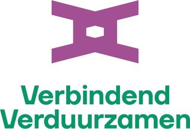 Logo van twee V's in elkaar geschoven met vermeld de titel Verbindend Verduurzamen en