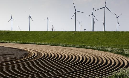 foto akker met dijk en windmolens