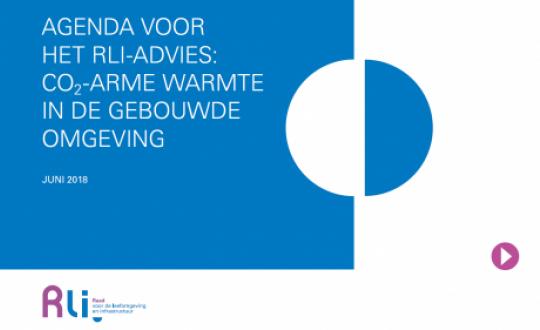 cover met titel: Agenda voor het Rli-advies CO2-arme warmte in de geobuwde omgeving