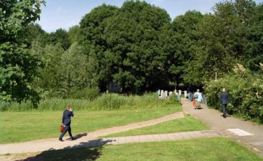 foto wandelaar in het park over een olifantenpaadje
