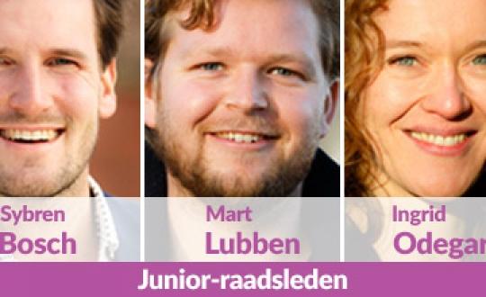 foto met drie portretten van de junior-raadsleden