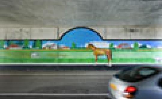 Verlangen naar landschap - Muurschildering in tunnel, Groningen